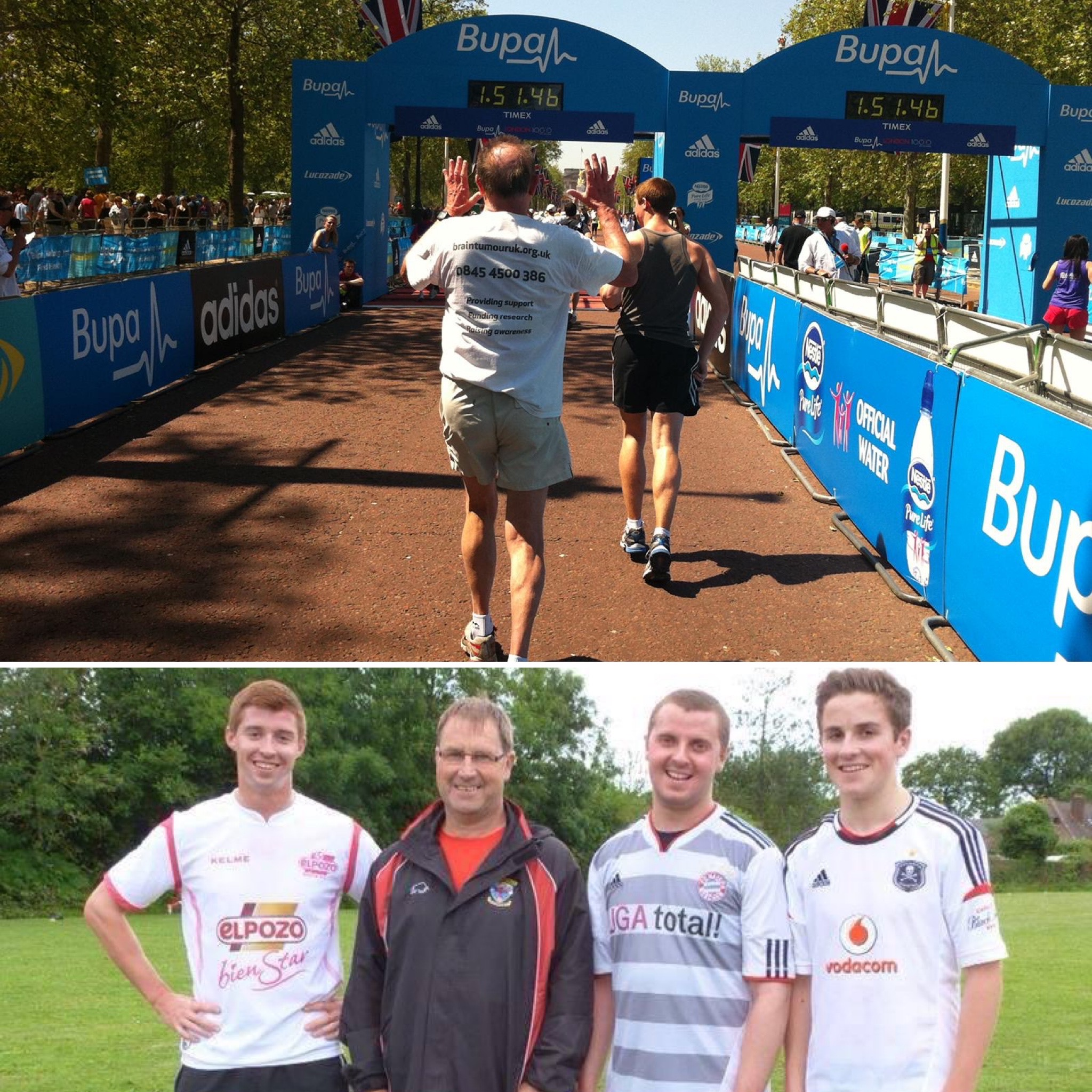 Above : Andrew (father) and I finishing the BUPA 10,000.   Below : me, Colin (step-father), Robert & George (brothers)
