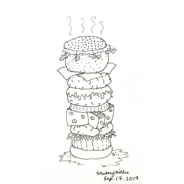 It's #nationalcheeseburgerday so here's a burger with many cheese.  #illustrationsbywhit #sketch #comic #cartoon #doodle #bahamas #artist #cheese