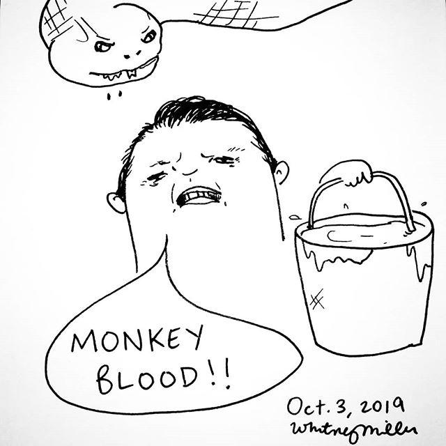 """Mankee Blahd!"" Oh man, lololol! Day 3 of #inktober2019 and I've gotten to draw a comic of one of my favorite ""horror"" films lol!  #inktober #bait #illustrationsbywhit #anaconda #comics #doodle #sketch #monkeyblood #horror #halloween #horrormovies #snake #jonvoight #paulsarone #servingface"