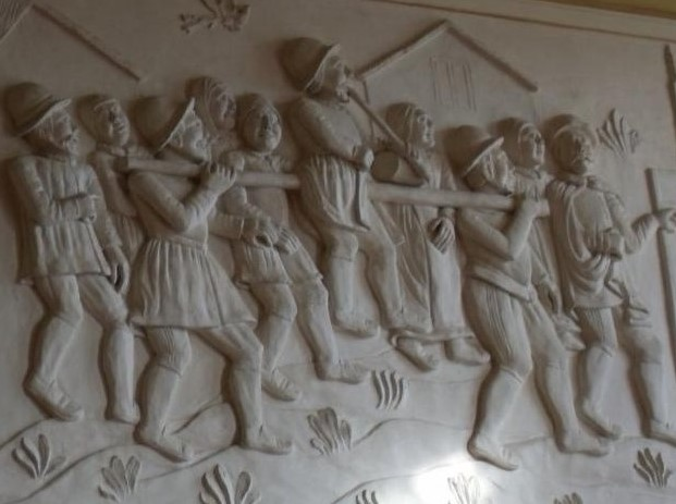 A relief from the Great Hall in Montacute House, Sommerset, England portraying a Stang Ride