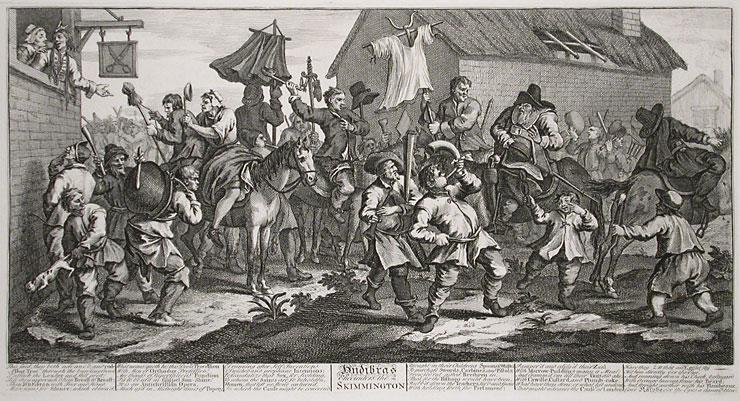 "William Hogarth's engraving ""Hudibras Encounters the Skimmington"""