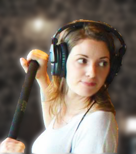 Emily Bradley recording audio for a film / video