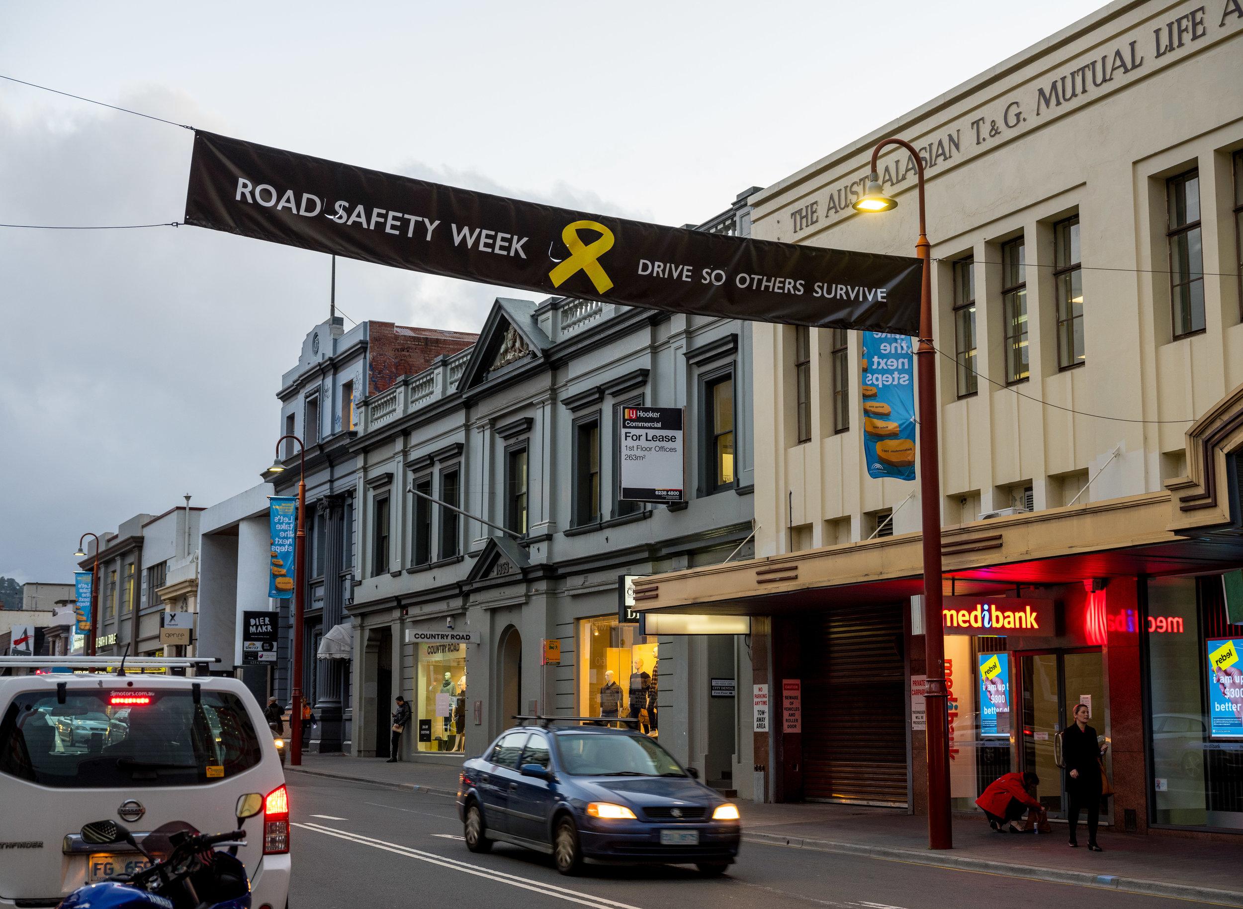 Tasmania  - Street Banner Collins Street Hobart.JPG