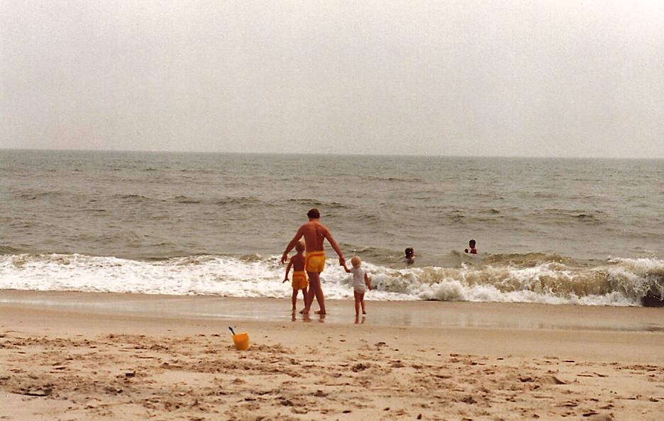 Josh Chamberlain walks the beach in Ocean City, 1987