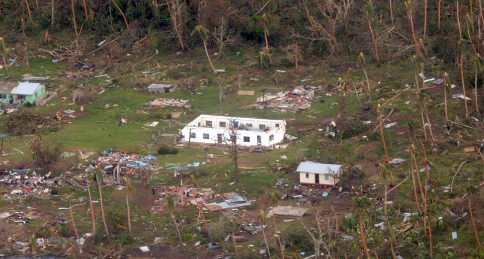 Aftermath of tropical cyclone Winston 2016 on Vanua Levu (outside the project site)