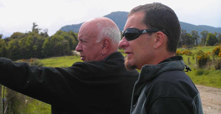 Southland carbon farmers Ken McAnergney (left) and nephew Mike Gibbs.
