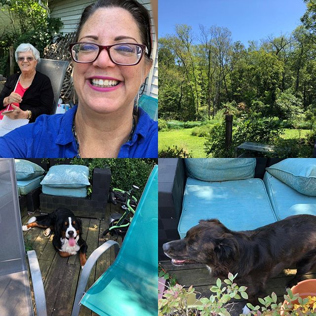#sundayvibes Mom is moved in. Weather is not too humid. #Virginia is green and beautiful. Puppies are getting their play on. Hope your day is just as fabulous!!! #thegoodlife #gratitude #happiness #thisissuccess #family #stillness #listentothebreeze