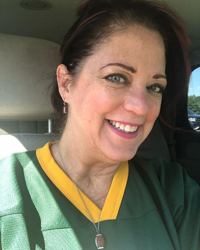 You know I have stepped fully into the football mom role when I rock the sparkly football jewelry too! First game of our flag football season today.  Good luck Coach Anderson!  Wishing you all dots Linc!  Go Packers!  #flagfootball #greenbaypackers #footballmom🏈 #quaterbackmom