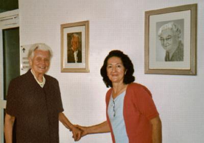Christa Lehnert-Schroth and Beatriz Torres, Physiotherapists, meeting at the Katharina-Schroth Klinik in Bad Sobernheim, Germany. -