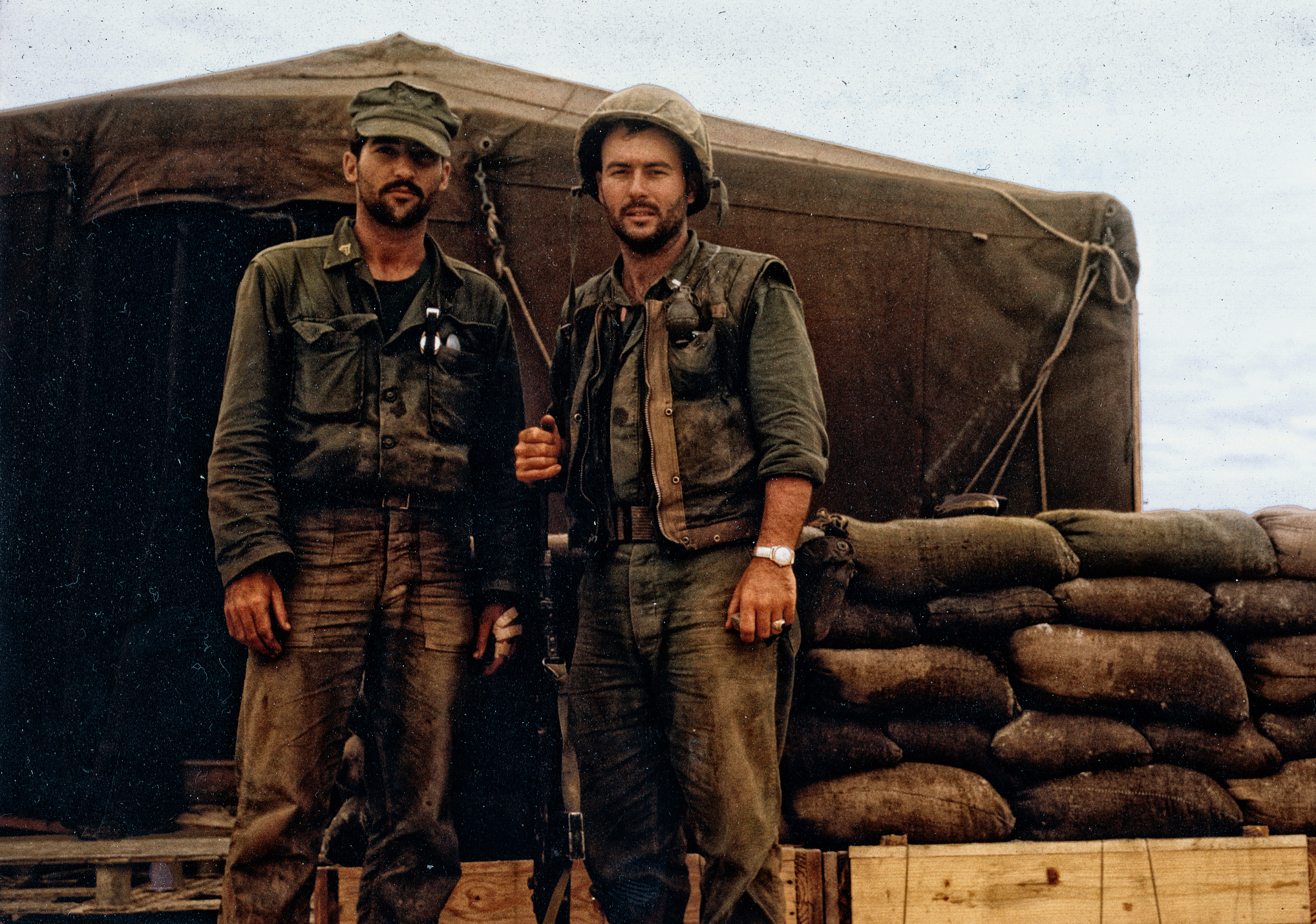 Radio operator Cpl. Patrick Iacunato, left, and 1st Lt. Harvey C. Barnum Jr. pose for a photo in Vietnam on Dec. 20, 1965, two days after actions that resulted in recommendation for the Medal of Honor for Barnum during Operation Harvest Moon.