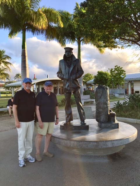 Retired Navy Captains Harry Palm (left) and Terry Johnson (right); shipmates of a Navy Memorial Board member, retired Navy Commander Mike Newell.