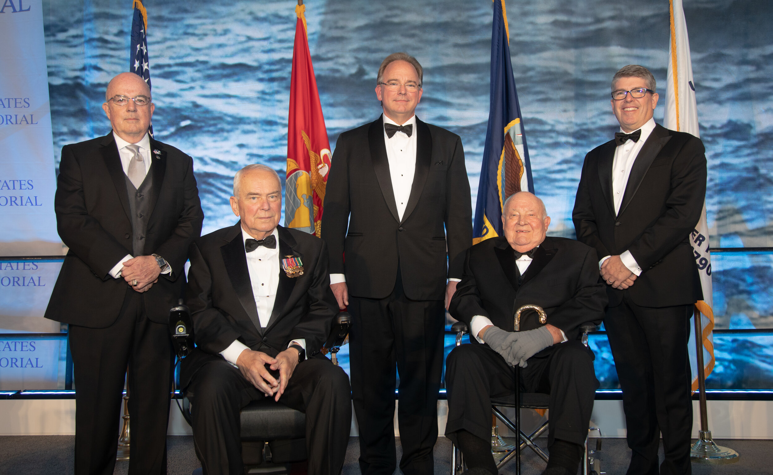 2019 Lone Sailor Awards Dinner  Admiral John C. Harvey, USN (Ret.), Paul Edward Galanti, Martin Kropelnicki, President & CEO of California Water Service Group, Dr. Jack London, Rear Admiral Frank Thorp IV, USN (Ret.), President & CEO of the Navy Memorial