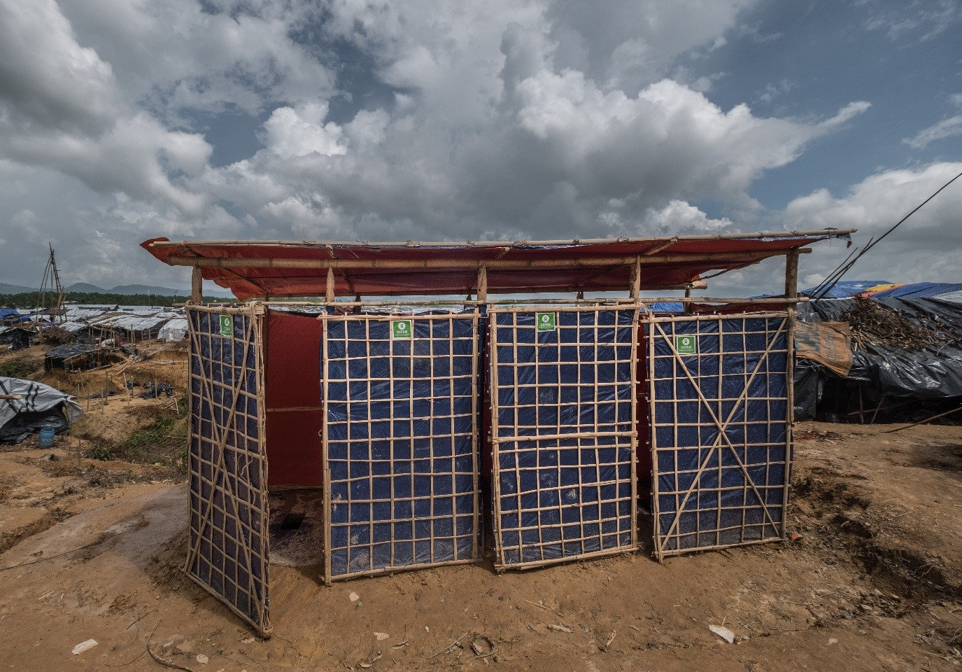 Photo caption: AHP-funded latrines in Kutupalong Camp, Cox's Bazar, Bangladesh. Credit: Tommy Trenchard/Oxfam. Date: February 2018.
