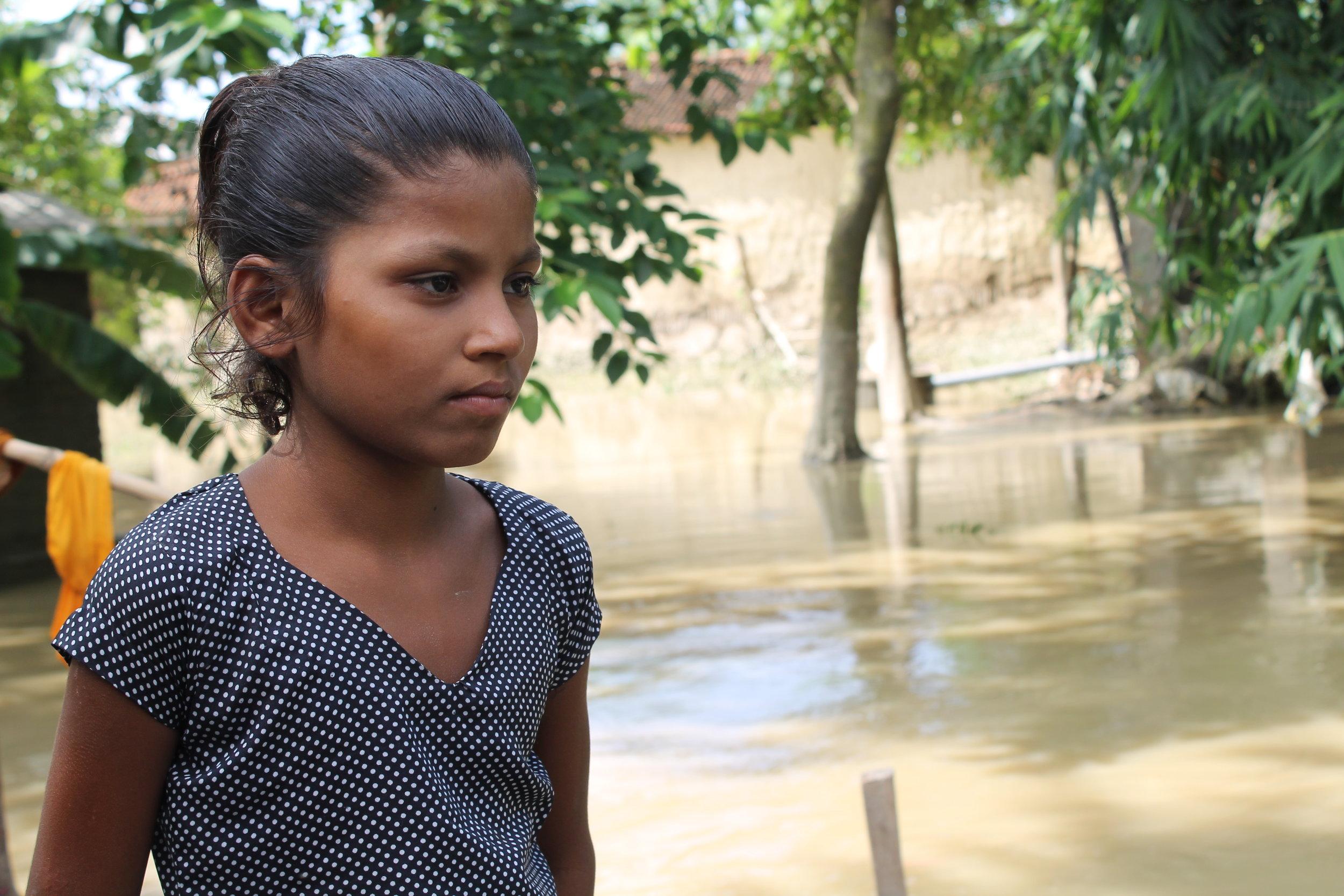 Caption: Manisha's home was badly damaged by Nepal floods. Credit: ©Shreeram KC/Plan International. Date: August 2017.