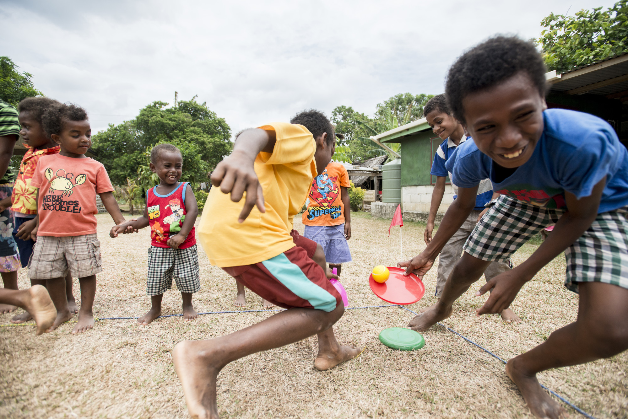Photo caption: Children play, draw and learn about hand-washing hygiene in Child Friendly Spaces set up by Save the Children. Photo credit: Save the Children.