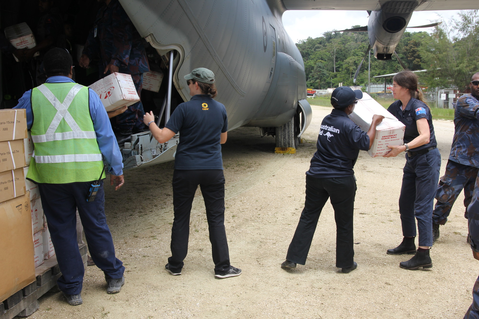 With the support of Australian Aid, CARE Australia's emergency response involved flying in and distributing relief items to families in urgent need in the earthquake-affected areas. Credit: John Hewat/CARE Australia