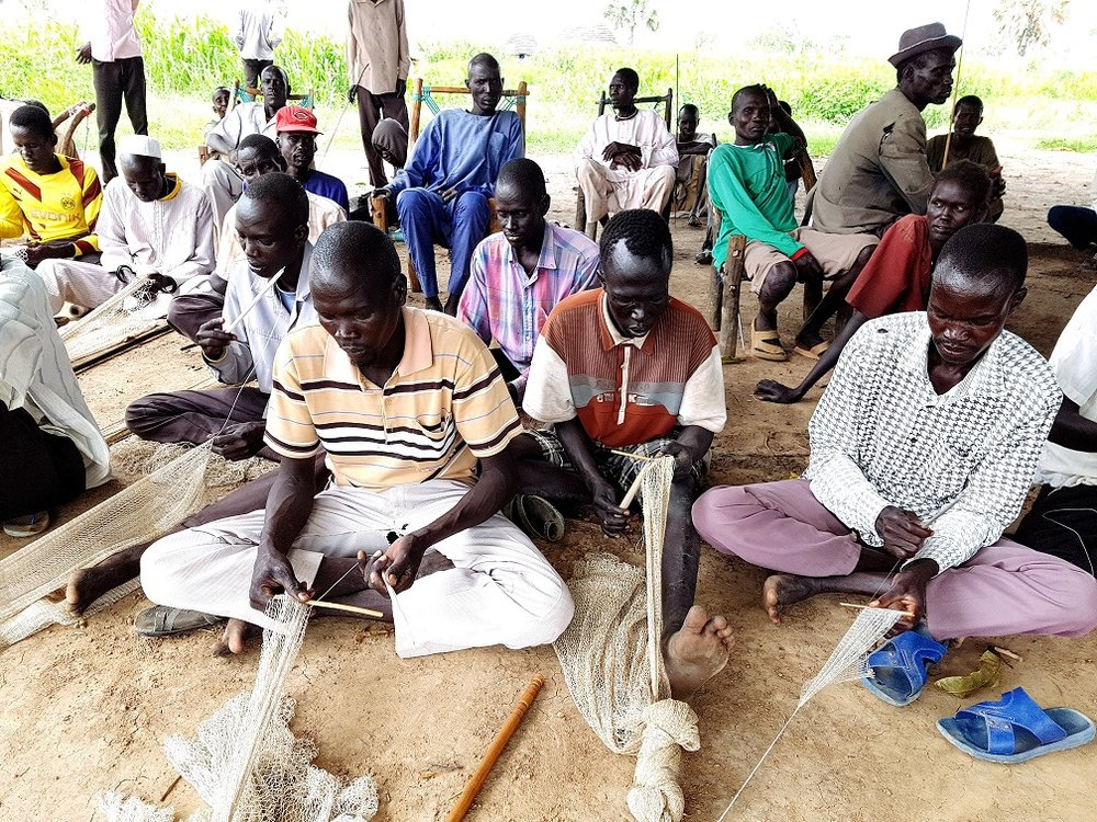 Communities in South Sudan are making fishing nets using the World Vision fishing kits ©World Vision Australia.