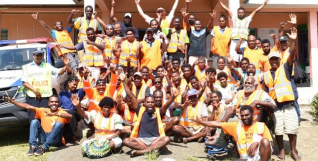 Above: Lenakel Earthquake and Tsunami drill stakeholders and participants: Tafea Provincial Office, - VMGD; Pacific Community; World Vision; Vanuatu Red Cross; CARE Vanuatu; NDMO; Local police; CDCCC representatives. Photo credit: Angela Brayton/ Disaster READY Shared Services team