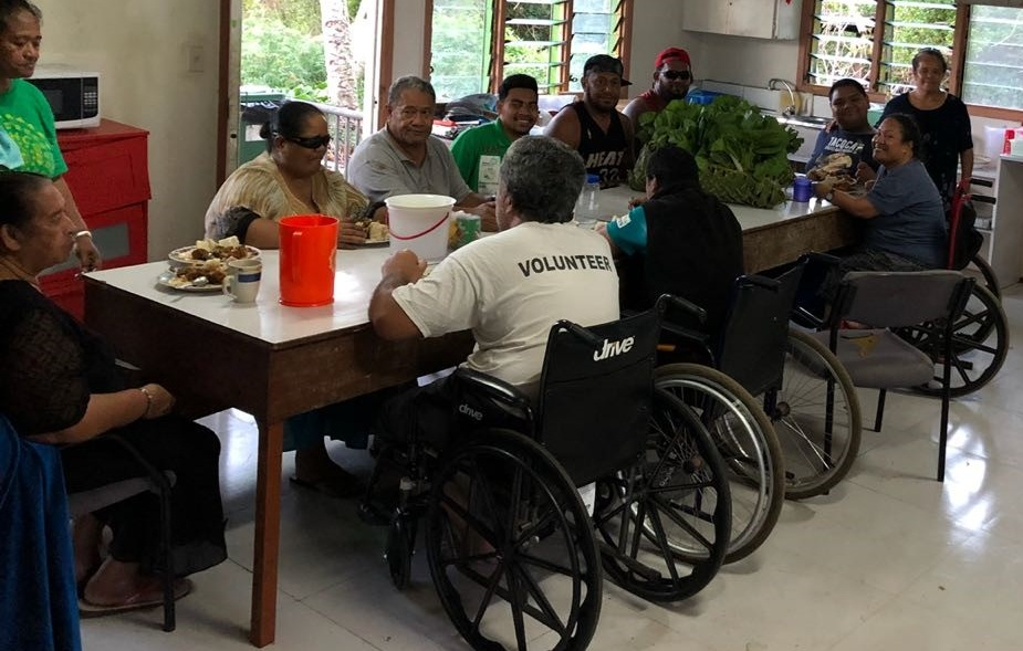 Above: Clients at the Alonga Disability Centre enjoy a meal made with produce shared via MORDI. Photo: Caroline Poulsen, MORDI