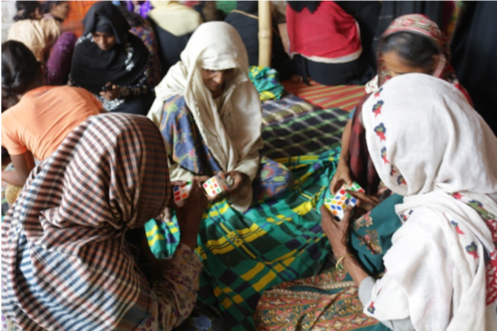 Above: Women Friendly Spaces provide respite to Rohingya refugees in Cox's Bazar, Bangladesh. Photo credit: CARE.
