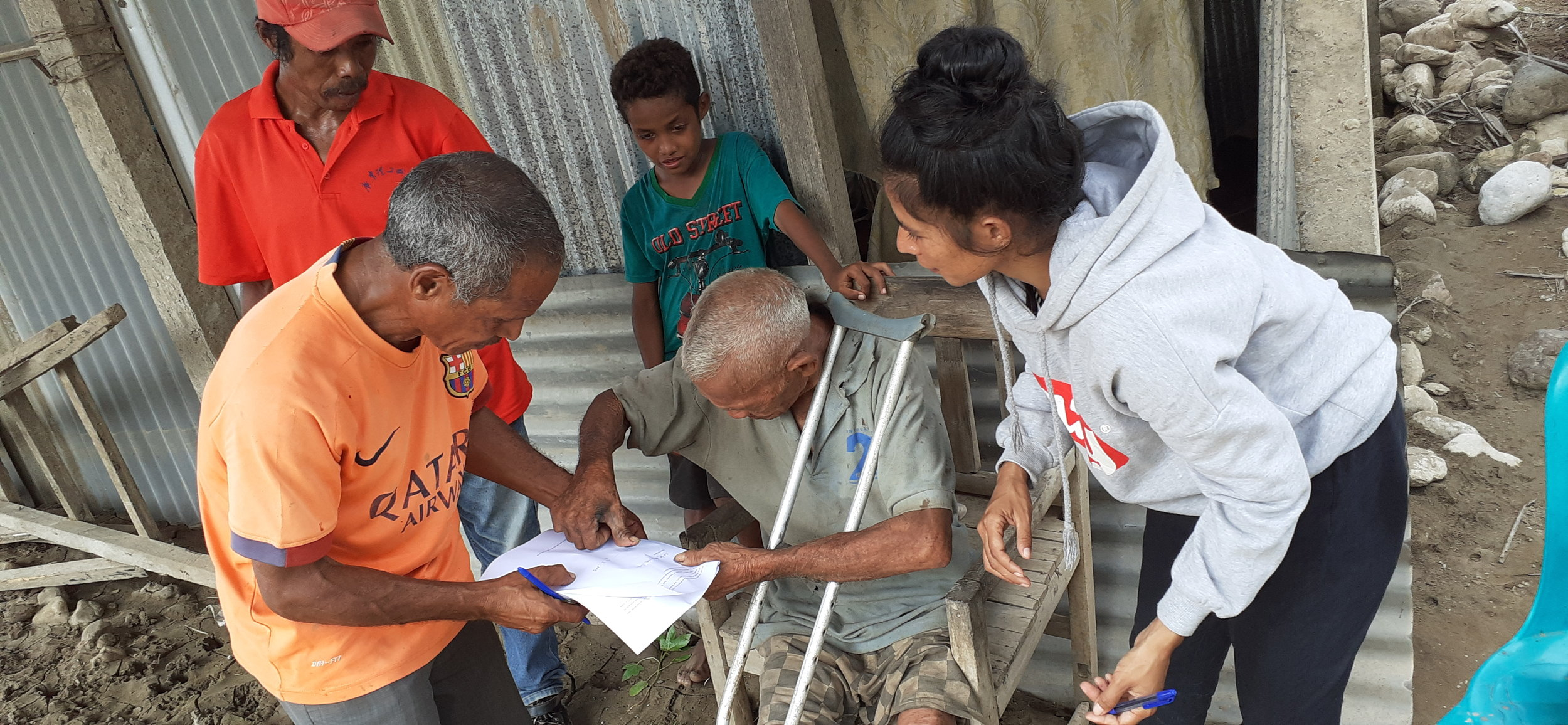 Above: Iliali village resident, Carlos, signs the consent interview and photo consent forms during the risk assessment consultations. Photo credit: Gaspar da Silva, ChildFund Timor-Leste.
