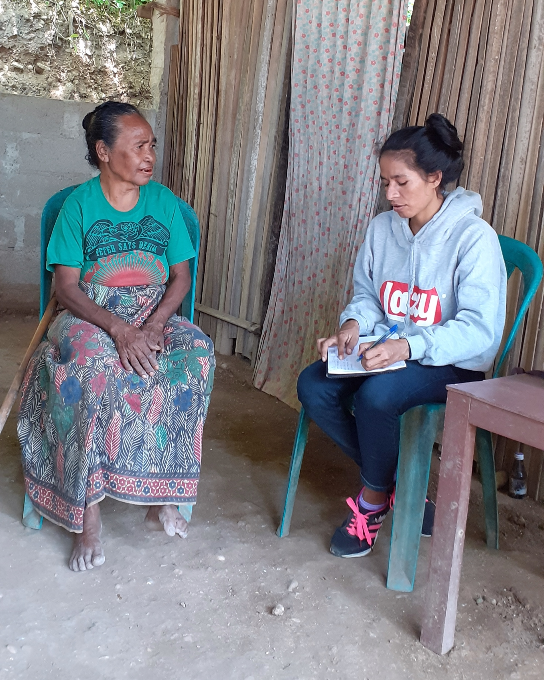 Above: Ililia village resident, Ricardina, is interviewed during the disaster risk assessment process. Photo credit: Gaspar da Silva, ChildFund Timor-Leste.