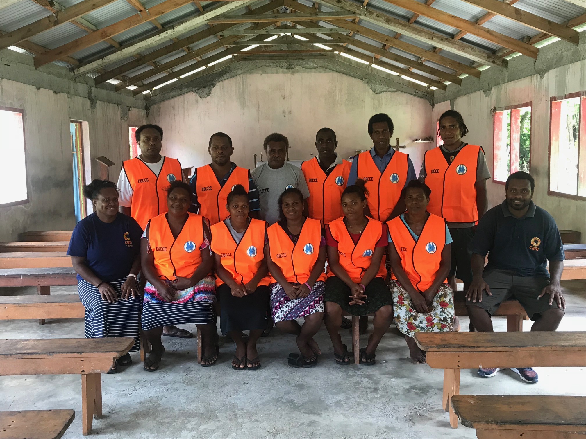 Above: New CDCCC committees in Maewo have representatives from Ambae and Maewo to ensure both communities contribute to local disaster preparedness and response activities. Photo credit: CARE Vanuatu.