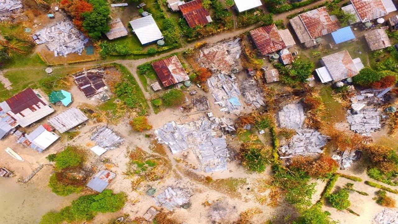 Above: An arial view of the burnt homes on Sohaho Island. Photo credit: Google Maps.
