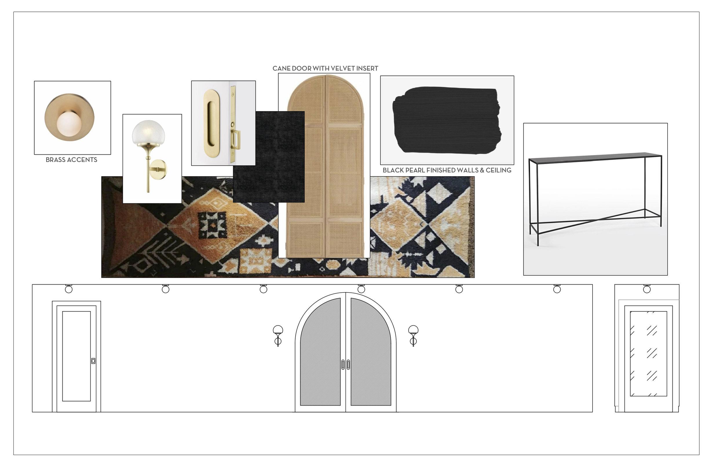 Lighting:  Hudson Valley Lighting  - Door Hardware:  Emtek  - Entry Table:  Rejuvenation  - Moroccan Runner:  Shkoon  - Caned Arched Pocket Door:  Hommeboys  x  Rottmayer Design + Build  - Black Velvet Panels:  Fabricut