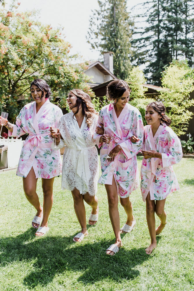 bridesmaids happy together