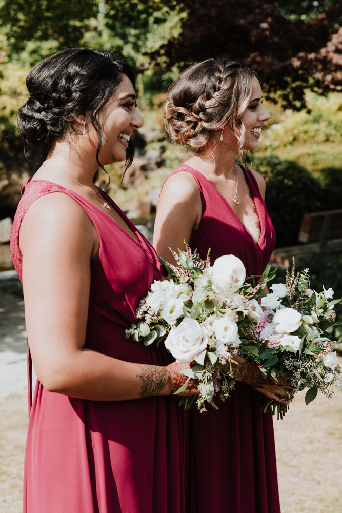 bridesmaids smiling