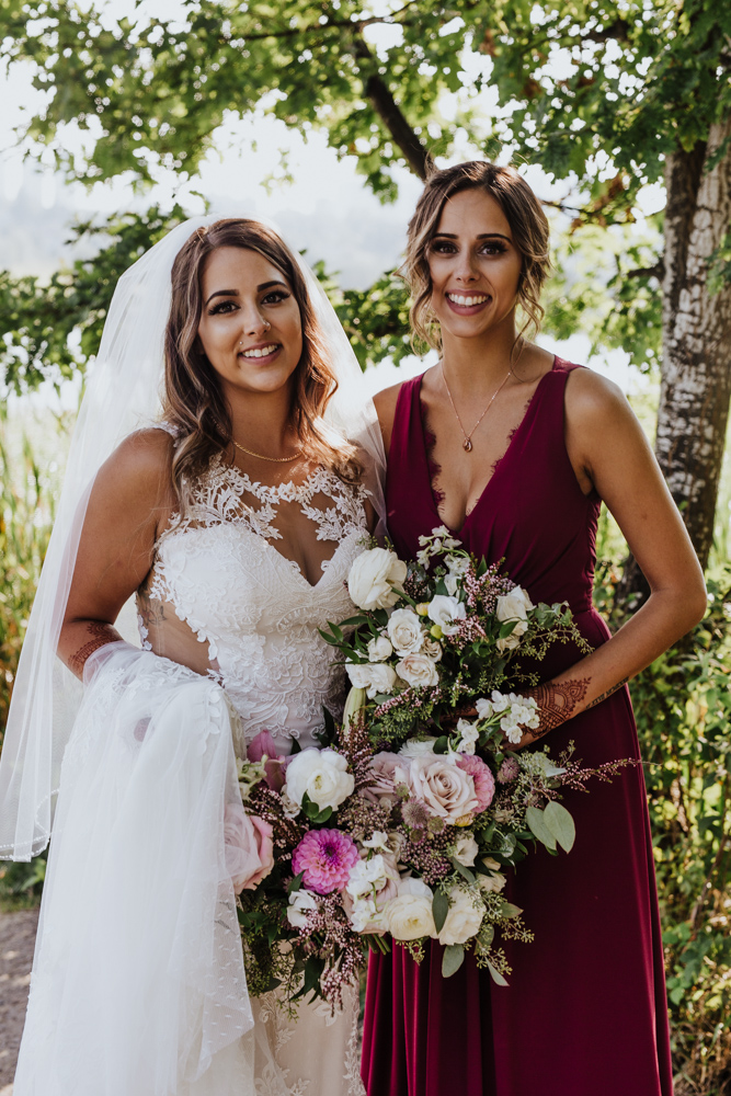 portrait of bride and bridesmaid