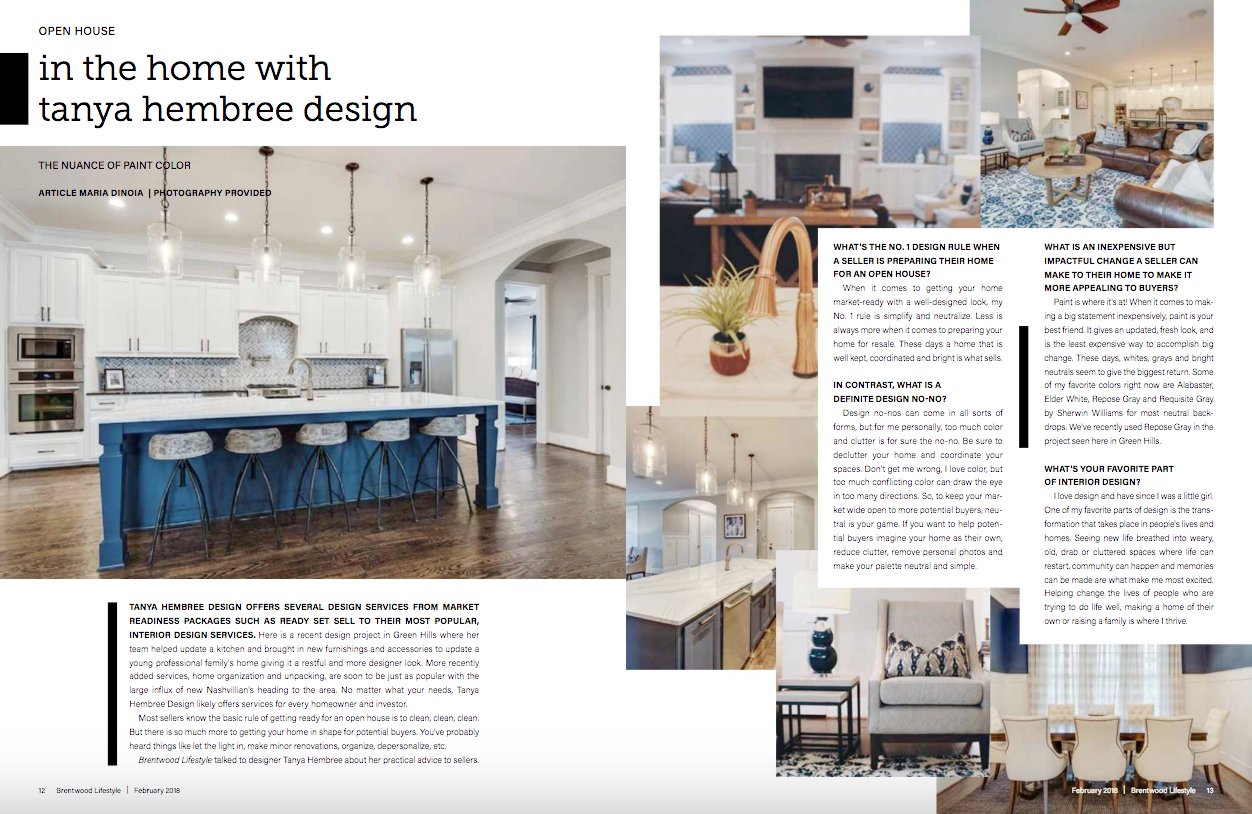 IN HOME WITH TANYA HEMBREE  Brentwood Lifestyle Magazine