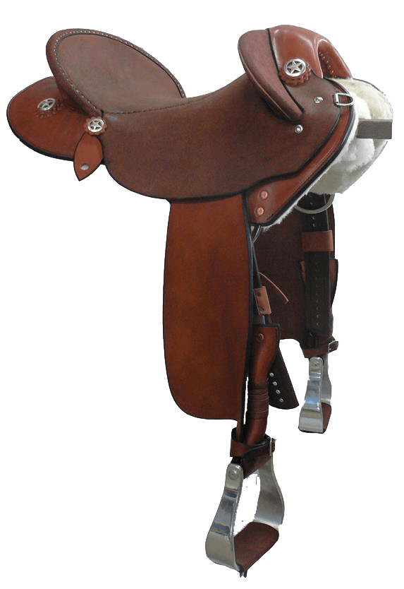 """The Campdrafter - This saddle made with:- Chestnut Leather- Standard Hard Seat- Stainless Steel FittingsAll saddles come fitted with Don Orrell 2"""" Flat Bottom Rancher Stirrups & Professional's Choice VenTECH Western Girth.Add ons:- Stainless Star Conchos $88Enquire Now."""