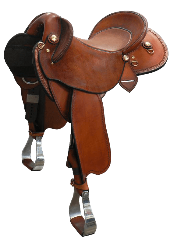 """The Campdrafter - This saddle made with:- Chestnut Leather- Brass FittingsAll saddles come fitted with Don Orrell 2"""" Flat Bottom Rancher Stirrups & Professional's Choice VenTECH Western Girth. Add ons:- Inlay Seat $220- Jewellers Bronze Conchos $110- Edge Stamping $55Enquire Now."""