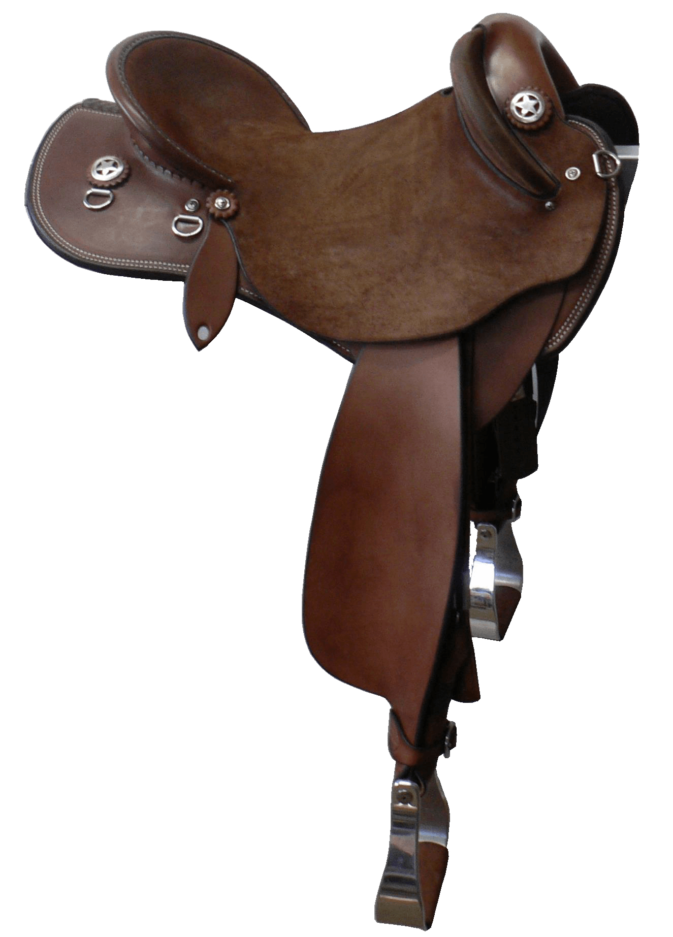"""The Campdrafter - This saddle made with:- Brown Leather- Standard Hard Seat- Stainless Steel FittingsAll saddles come fitted with Don Orrell 2"""" Flat Bottom Rancher Stirrups & Professional' Choice VenTECH Western Girth. Add ons:- Stainless Star Conchos $88Enquire Now."""