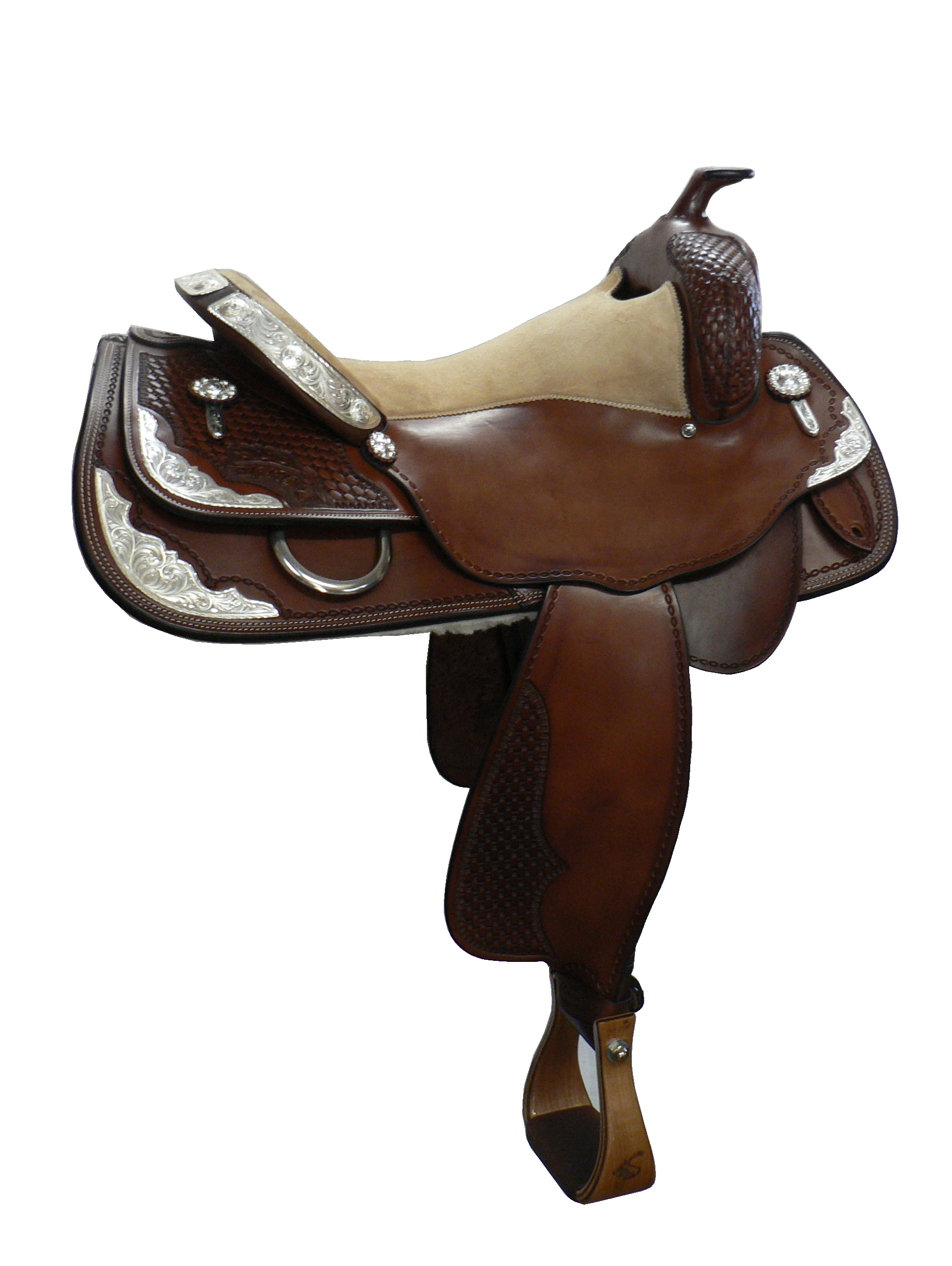 Show Saddle - This saddle made with:- Brown LeatherAll saddles come fitted with Don Orrell Rancher Stirrups & Professional's Choice VenTECH Western Girth. Add ons:- Small, Medium and Large Silver Corner Plates- 3 Piece Silver Cantle Plates- Silver Conchos- Silver Tips- Edge Stamping- Basketweave Swell, Jockey and Fender- Carving