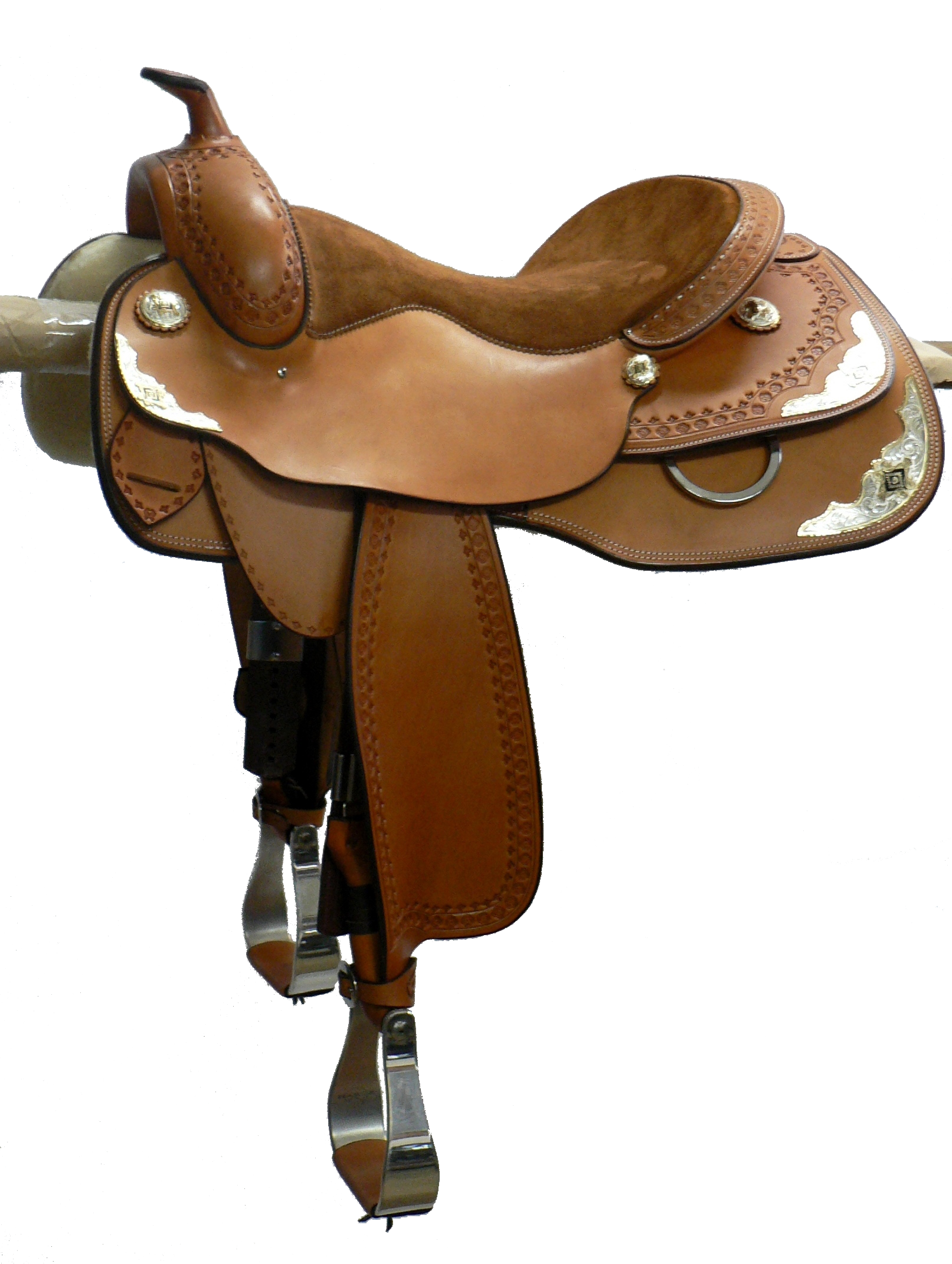 Show Saddle - This saddle made with:- Natural LeatherAll saddles come fitted with Don Orrell Rancher Stirrups & Professional's Choice VenTECH Western Girth. Add ons:- Small, Medium and Large Custom Silver Corner Plates- Silver Conchos- Double Edge Stamping
