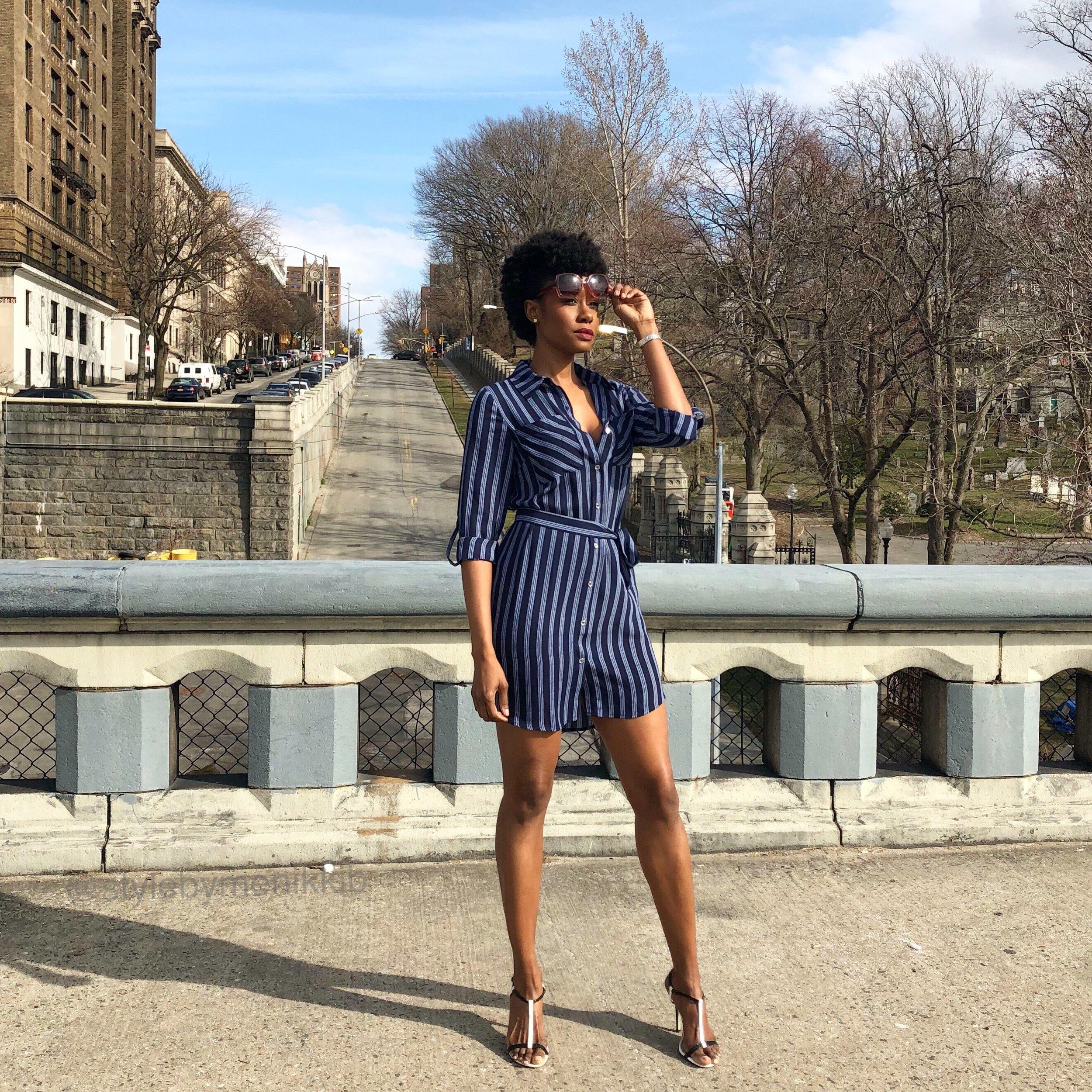 Featured dress: navy/sailor blue stripe shirt dress by Michael Kors