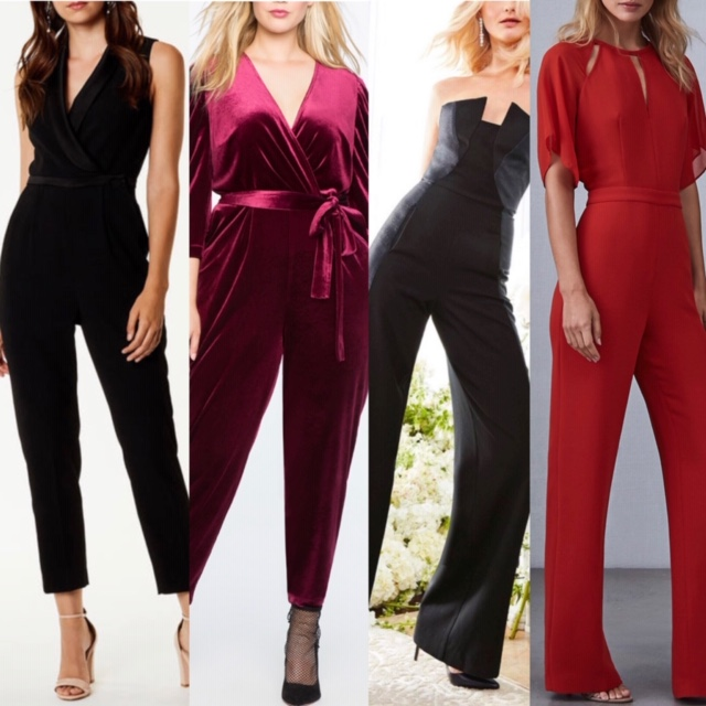 Left to Right:  Karen Millen (Melissa's jumpsuit) , Eloquii, Halston Heritage and Reiss