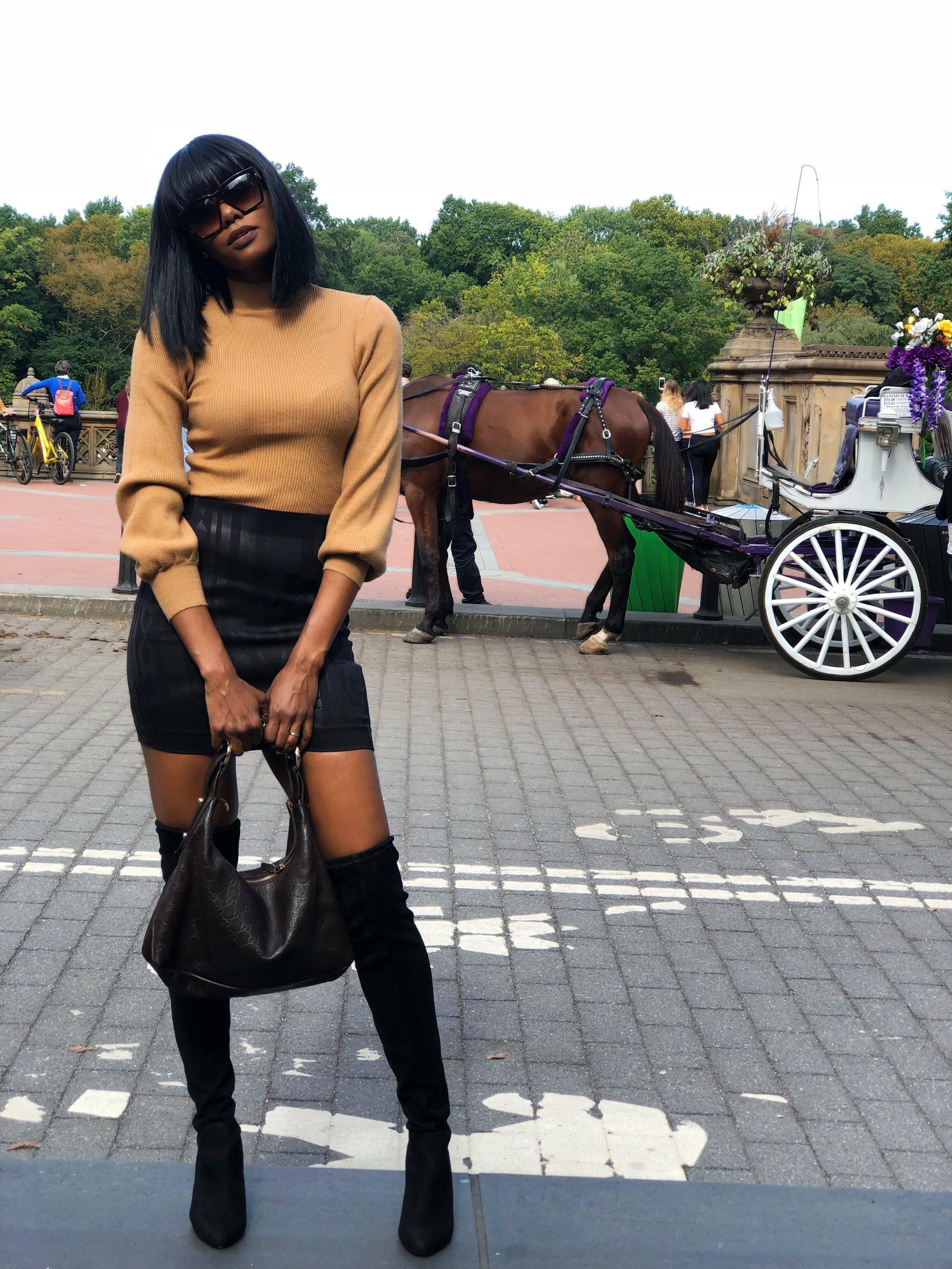 On Me: JOA tan sweater, $49, Bloomingdales