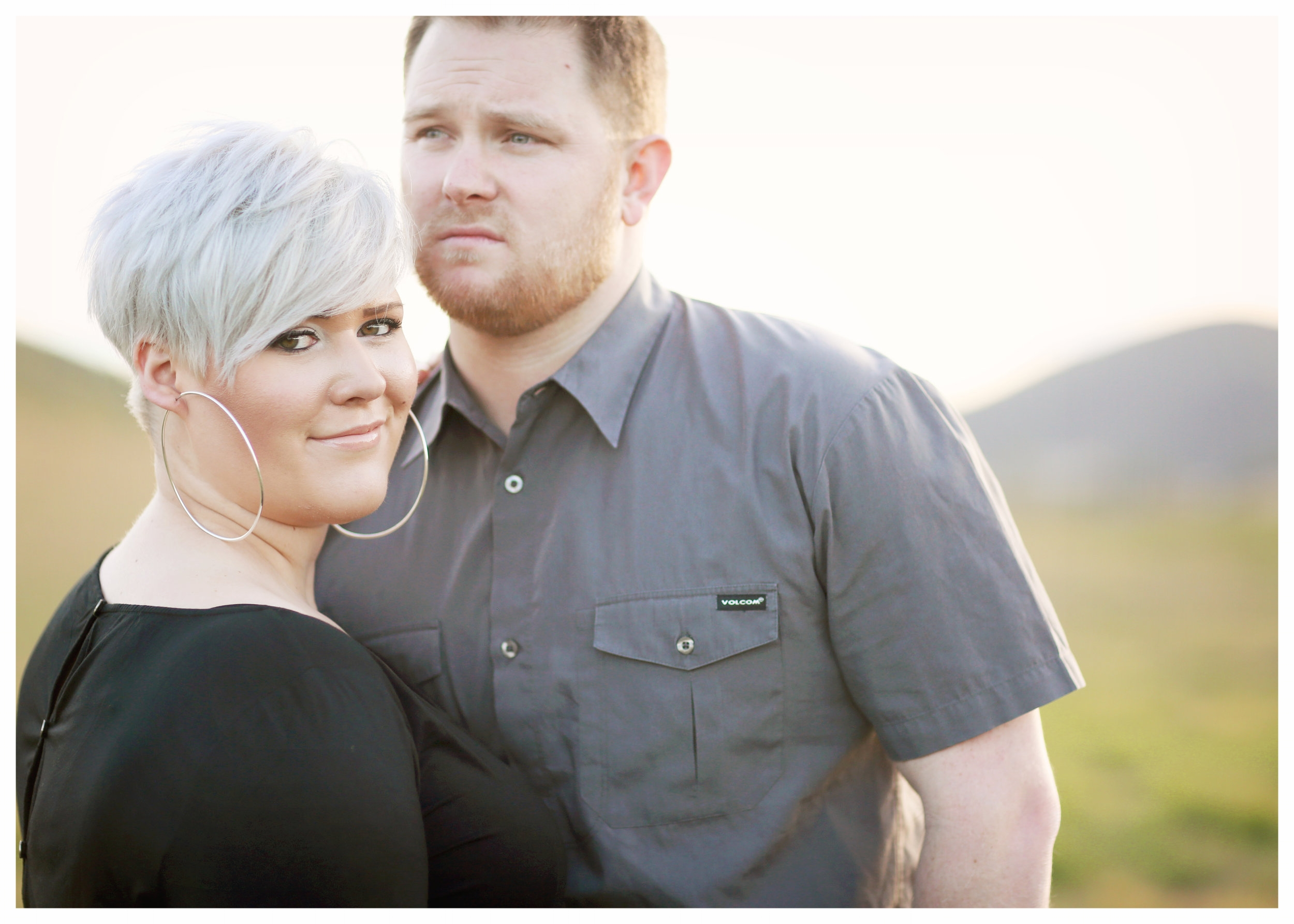 An engagement photo of a beautiful young couple at Chateau Adare in Murrieta, California.