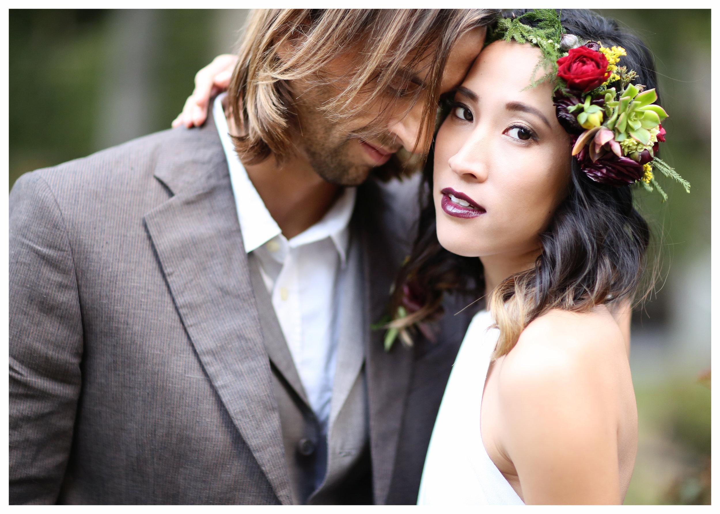 Boho bride and groom wedding photo in Orange County. Organic fine art image.