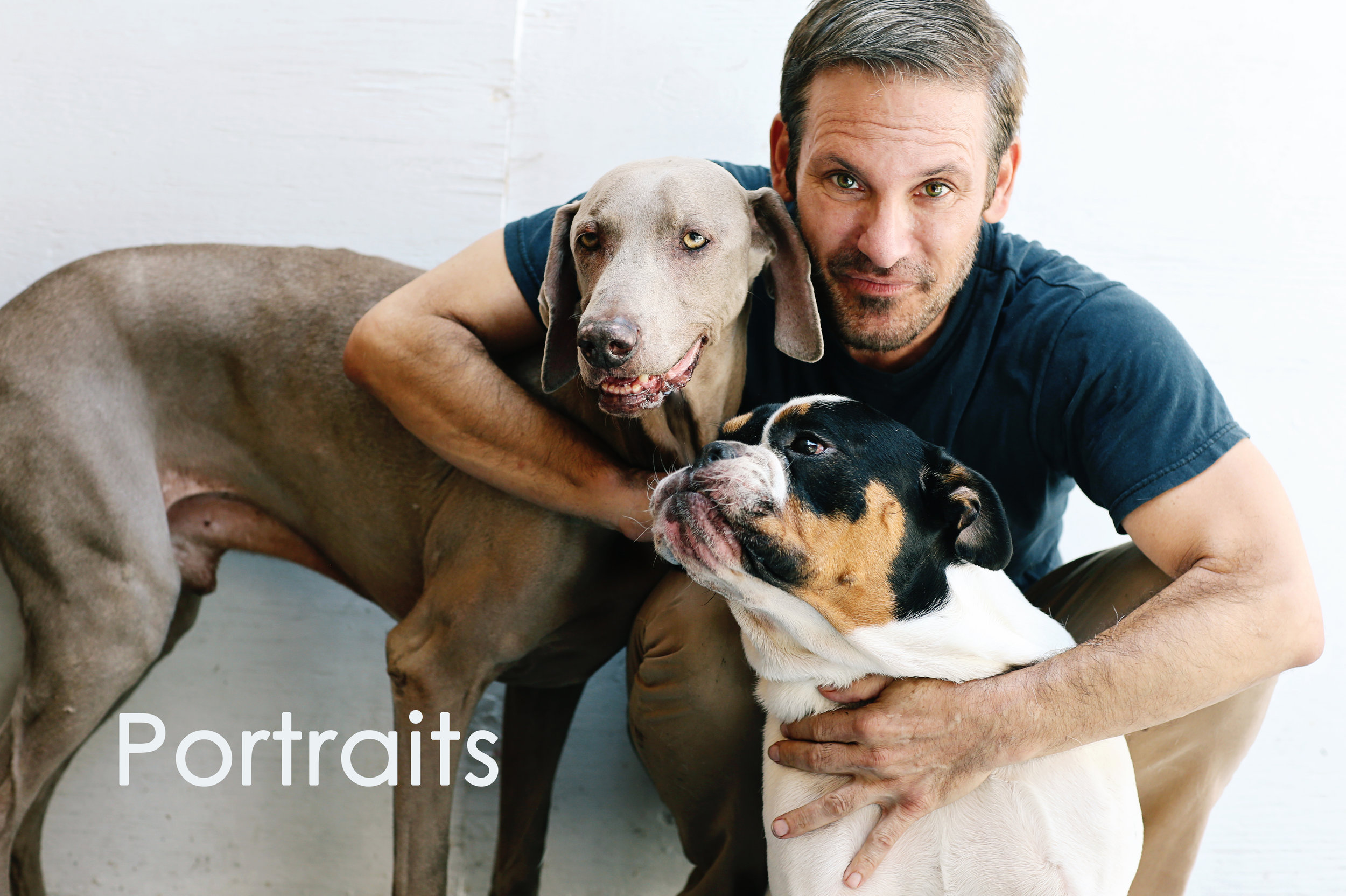 Fine art portrait of a man and two dogs in Orange County.