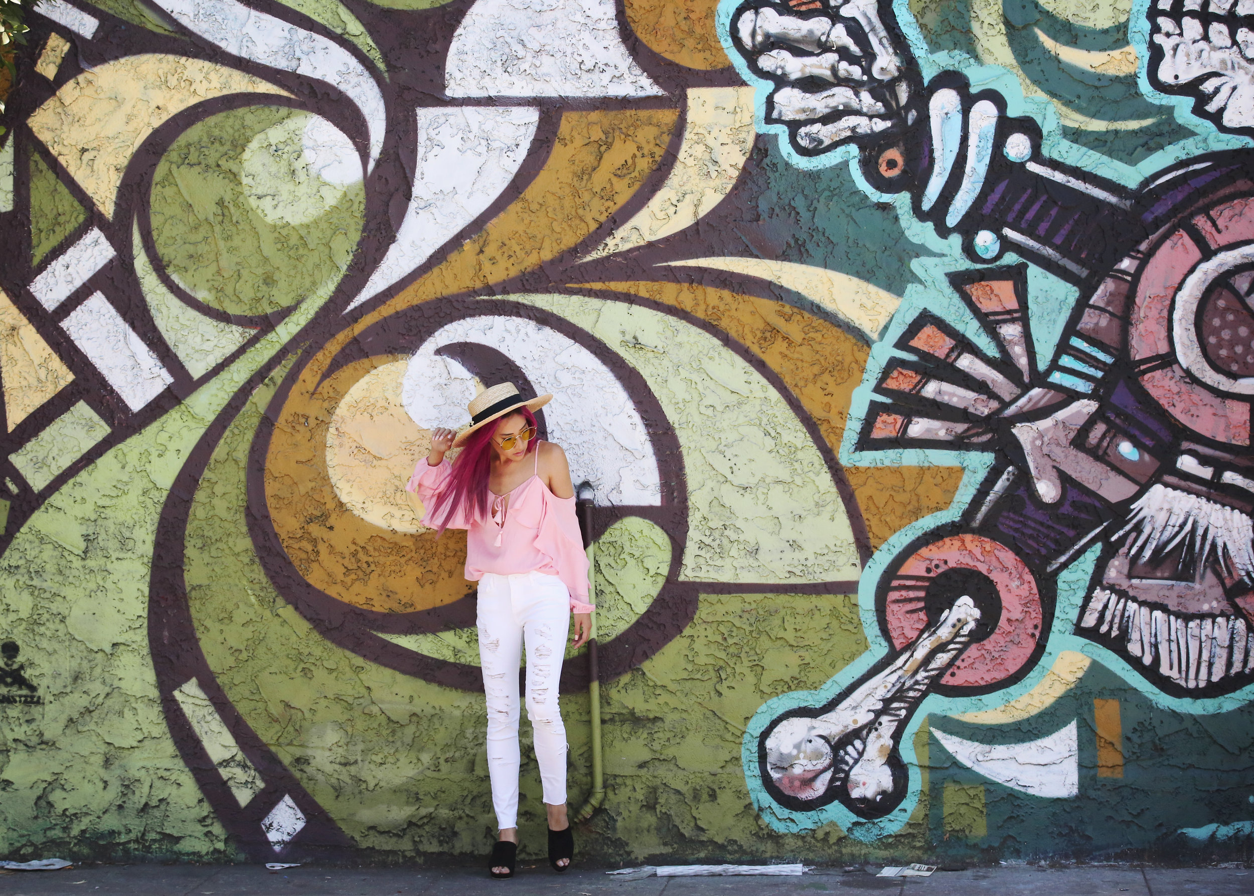 Colorful wall in Los Angeles is the backdrop for this fine art photo with fashion blogger Amanda Nguyen of Orange County.