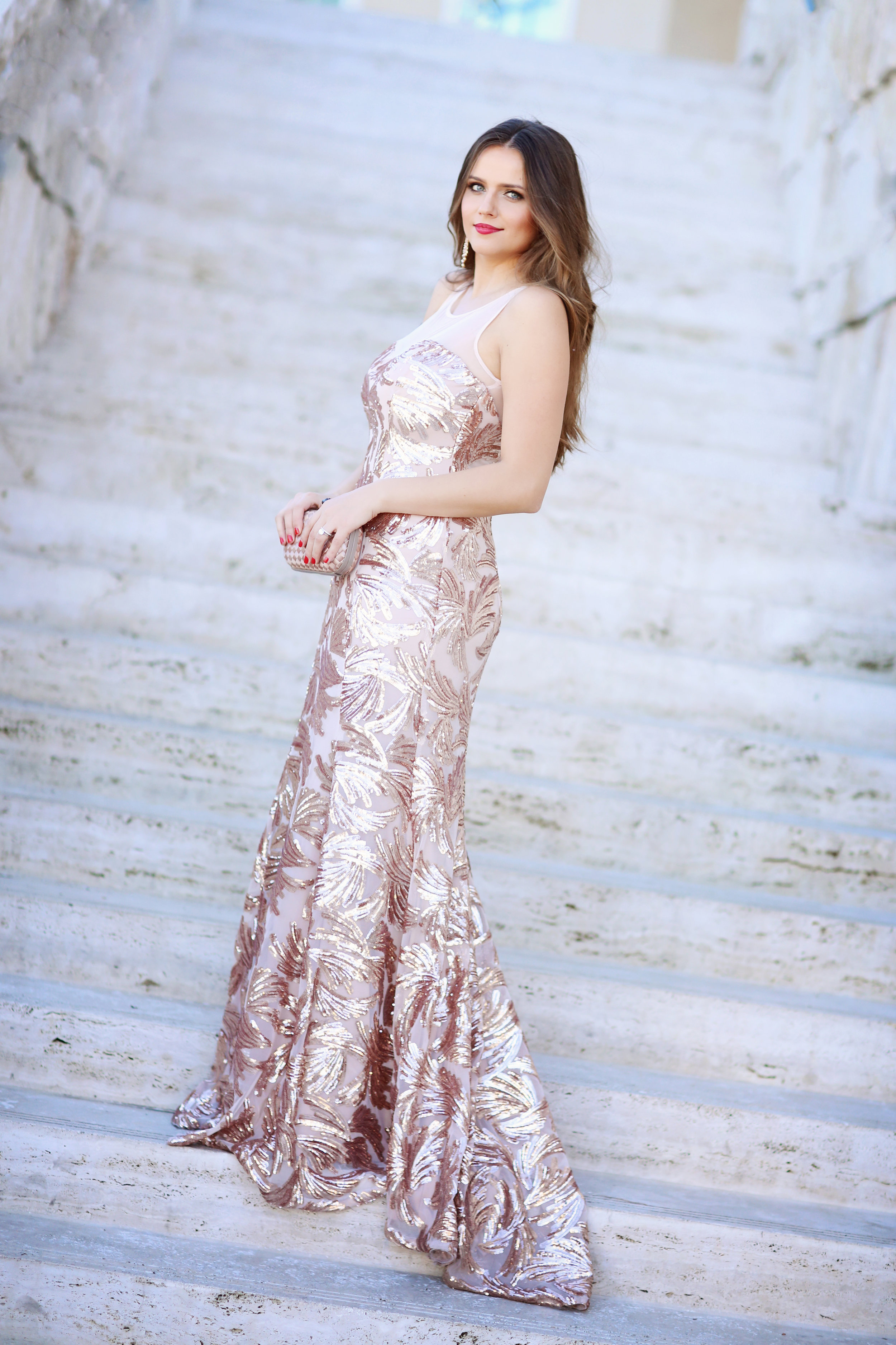 rose gold evening gown on fashion blogger Irina bond of Bond Girl Glam