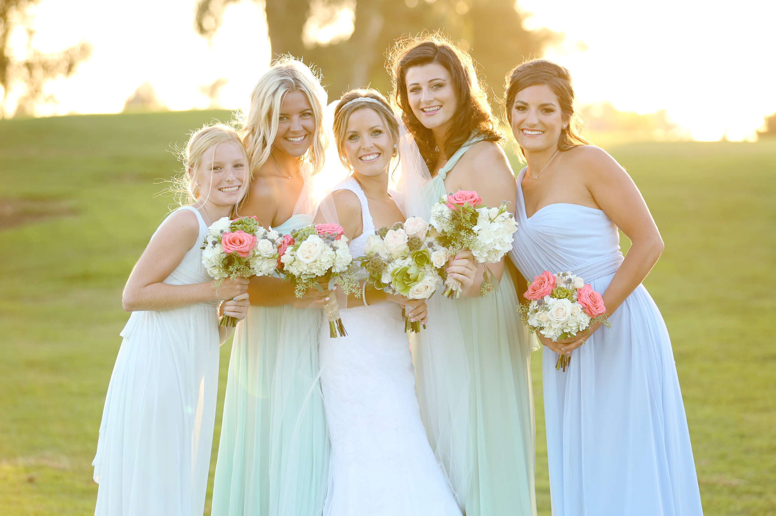 A portrait of a bride and her bridesmaids in Orange County.