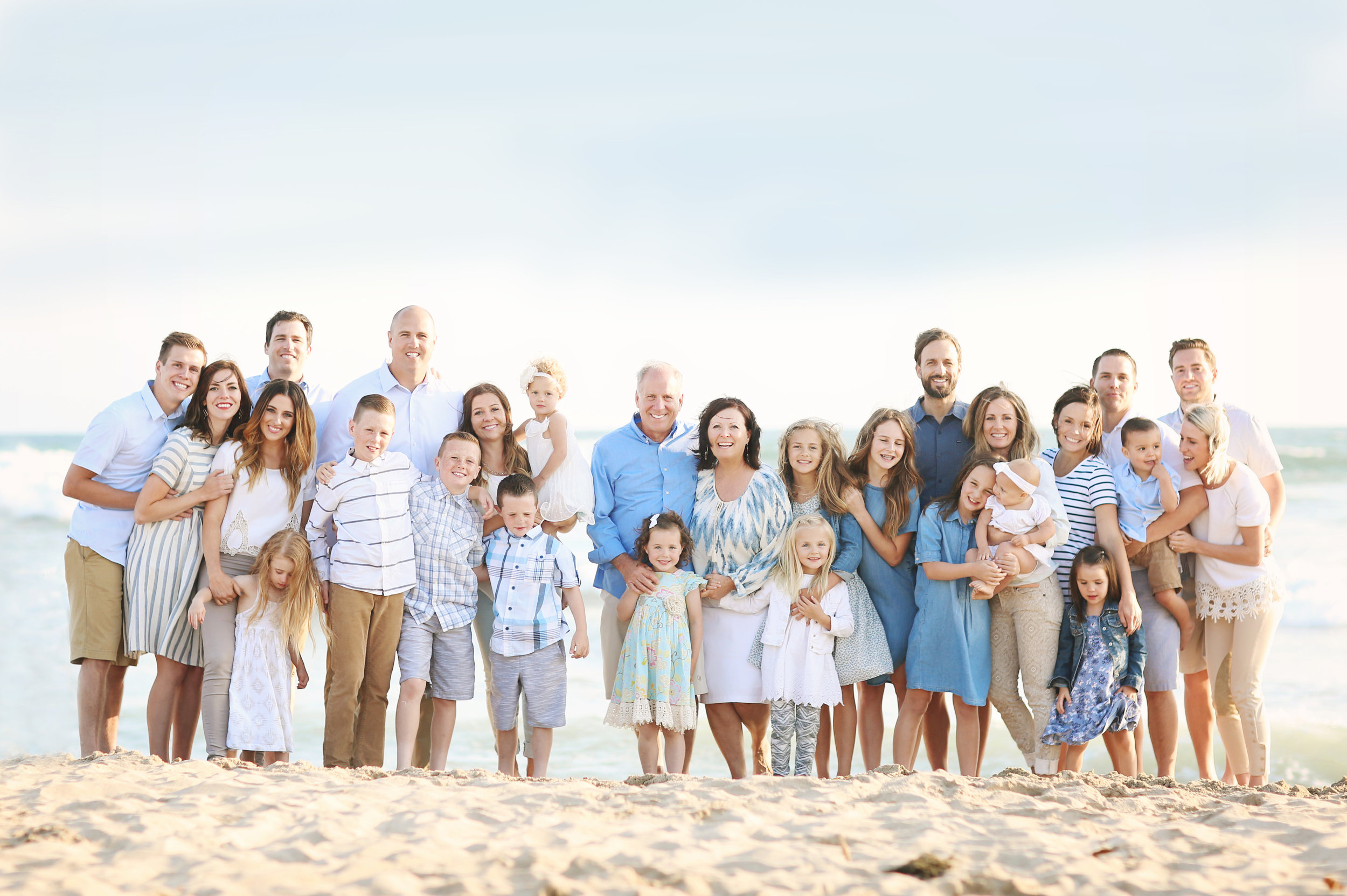 a large family beach portrait at San Clemente Beach, Orange County.