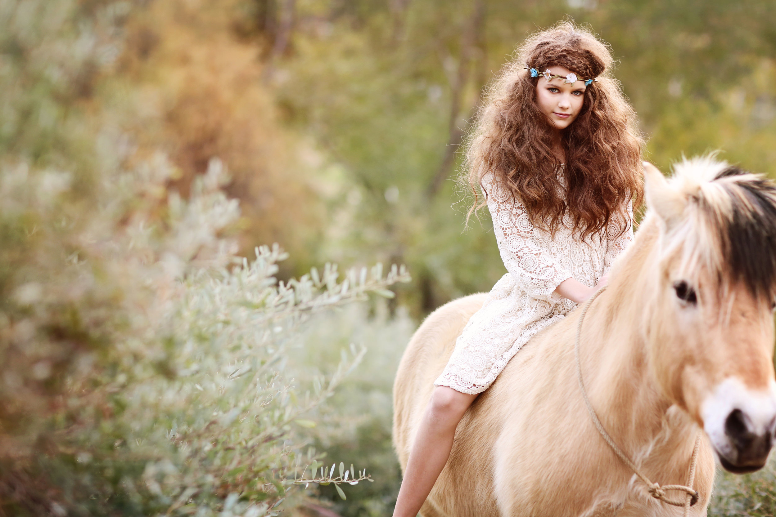 Young girl on a white horse in an Orange County field