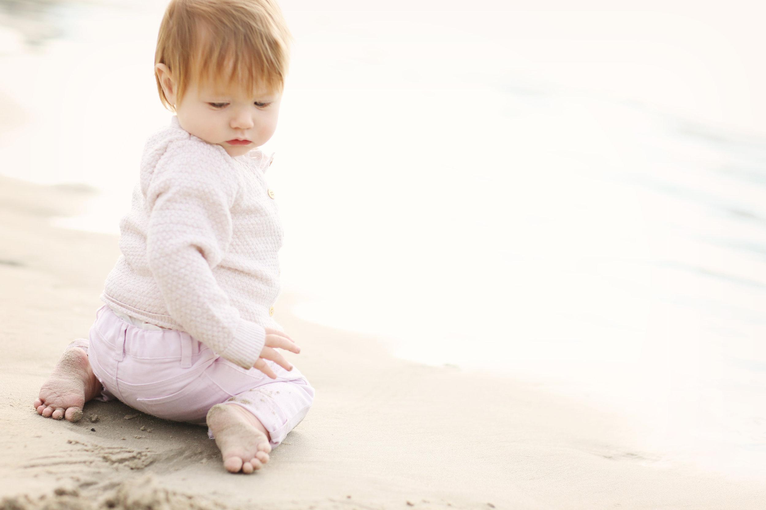 Beach portrait of a baby on the beach, San Clemente